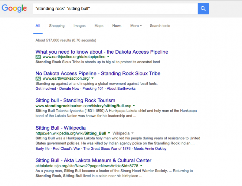 An Oct, 22,2016 Google search turned up few sources that show the links between today's Standing Rock actions and the history of Sitting Bull's life and death. Screenshot by the author
