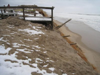 Stairway at Nauset Light Beach, Eastham, Massachusetts, following a winter storm in 2010. Photo credit: National Park Service.