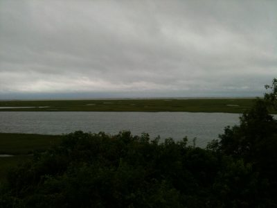 Present day view of Nauset Marsh from Fort Hill, Eastham, Massachusetts, looking northeast. Photo credit: the author.