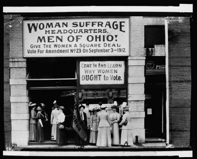 Woman suffrage headquarters in Upper Euclid Avenue, Cleveland. Photo credit: Library of Congress.