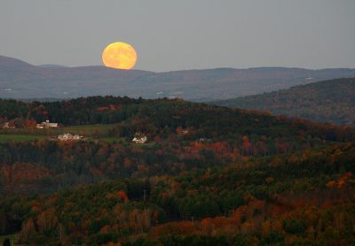 Harvest moon over the hills of Vermont, as seen from Marsh-Billings-Rockefeller National Historical Park. Photo credit: National Park Service.