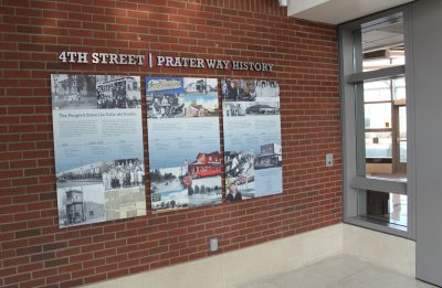 One of the permanent transit station displays Alicia Barber developed for the Regional Transportation Commission's 4th Street-Prater Way History Project, which also included oral histories, architectural research, and designs for eight historically themed bus shelters. Photo by Alicia Barber.