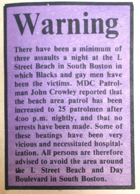 A warning to Boston gay community from Gay Community News, c. 1970s. Photo credit: The History Project, Boston.