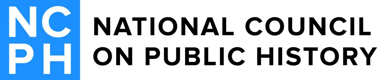 NCPH Logo with stacked letters in blue and words National Council on Public History to the right side