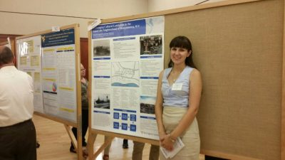 Elizabeth Satterfield presenting her summer research on Sunnyside during WVU's SURE (Summer Undergraduate Research Experience).