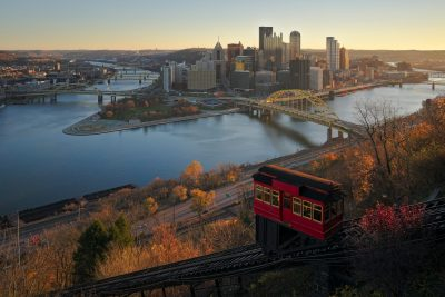 Downtown Pittsburgh and the Duquesne Incline from Mount Washington.