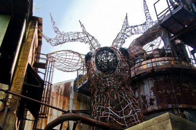 """The """"Carrie Deer,"""" a guerilla art sculpture created in 1997 using wire and metal at the abandoned Carrie Furnace site, became a rallying point for the cooperation of the city's arts and heritage communities."""