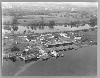 Aerial of Matton Shipyard. Photo Credit: Charles O'Malley Collection, New York State Museum.