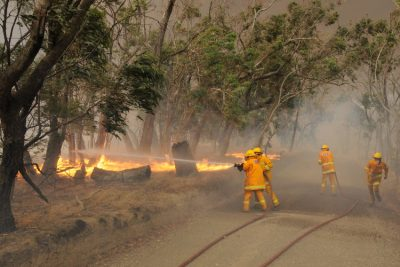 """CFA at the fire front,"" Black Saturday Bushfires, Strathewen, Feb. 7, 2009. Source: Museums Victoria"