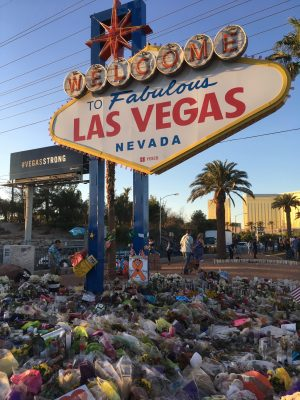 The Las Vegas sign adorned with flowers on October 9, 2017, a week after the shooting