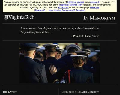 Screenshot from Virginia Tech website, April 17, 2007.