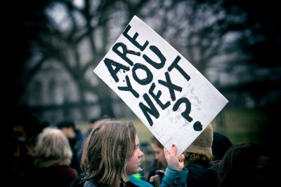 Are You Next sign at student lie-in at the White House to protest gun laws following the school shooting at Marjory Stoneman Douglas High School in Parkland Florida, Feb. 2018. Photo by Lorie Shaull.