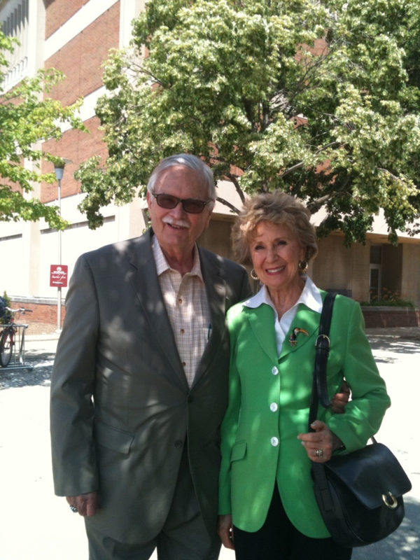 G. Wesley and Marian Johnson outside the archives at IUPUI on May 22, 2012. They visited to conduct research about NCPH history.