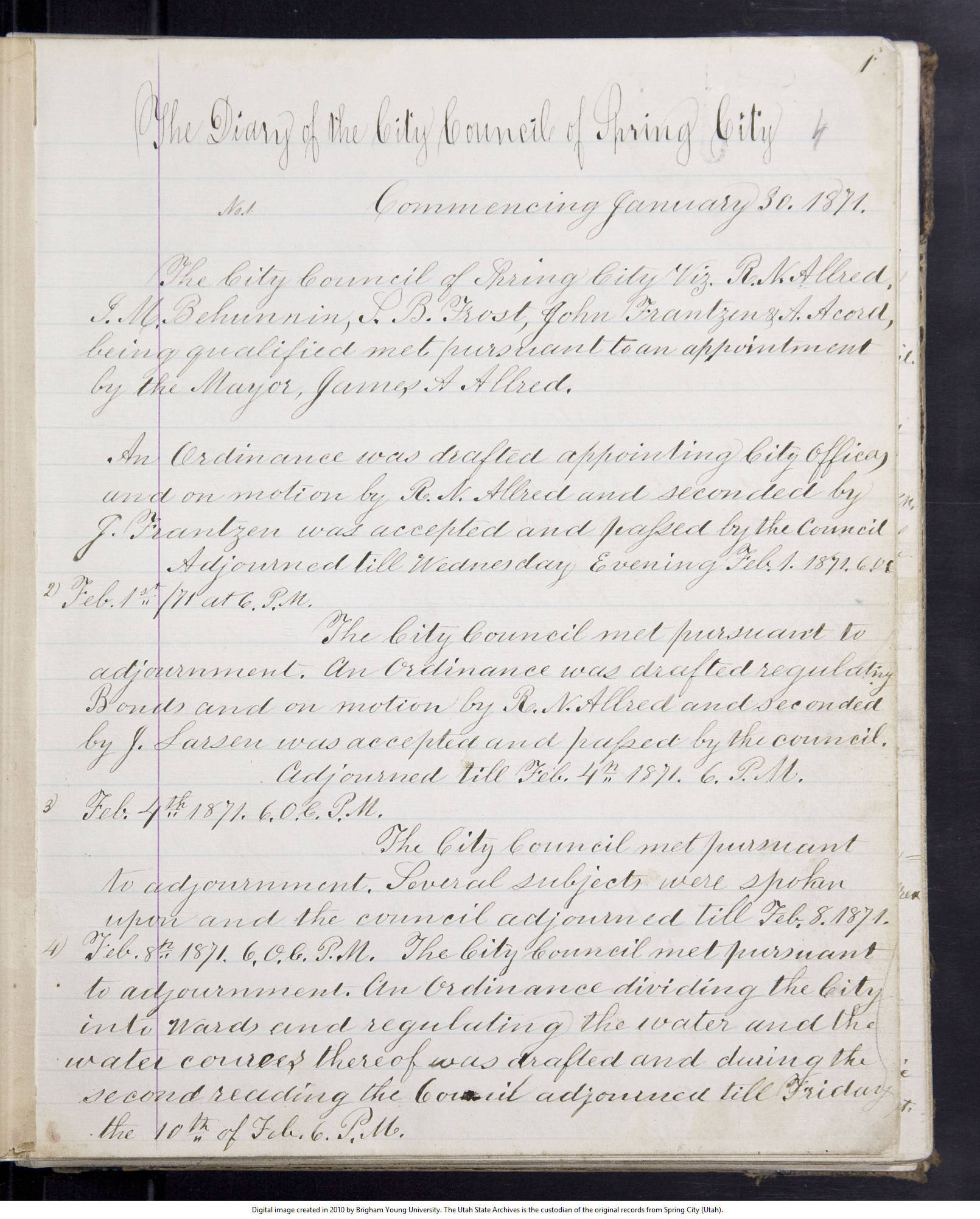 """This is a scan of a the left-hand page of a manuscript document titled """"The Diary of the City of Council of Spring City."""""""